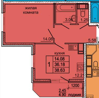 Планировка Однокомнатная квартира площадью 38.63 кв.м в ЖК «Гамма»