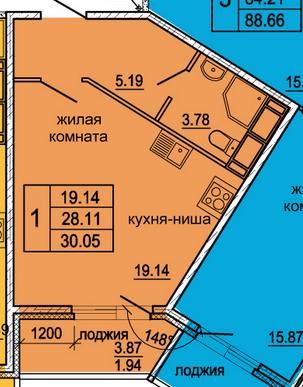 Планировка Студия площадью 30.05 кв.м в ЖК «Гамма»