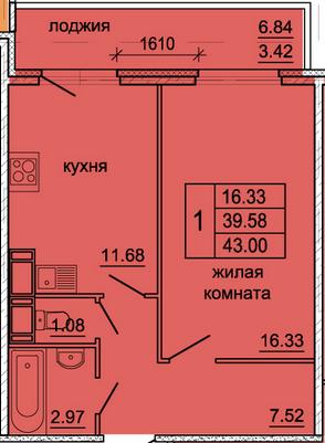 Планировка Однокомнатная квартира площадью 43 кв.м в ЖК «Гамма»