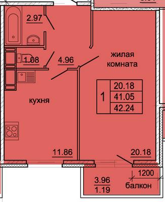 Планировка Однокомнатная квартира площадью 42.24 кв.м в ЖК «Гамма»