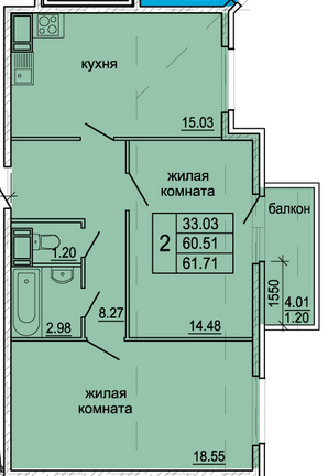 Планировка Двухкомнатная квартира площадью 61.71 кв.м в ЖК «Гамма»