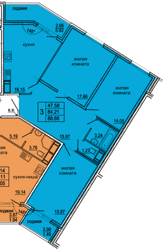 Планировка Трёхкомнатная квартира площадью 88.66 кв.м в ЖК «Гамма»