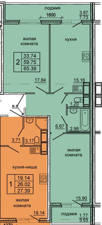 Планировка Двухкомнатная квартира площадью 65.39 кв.м в ЖК «Гамма»