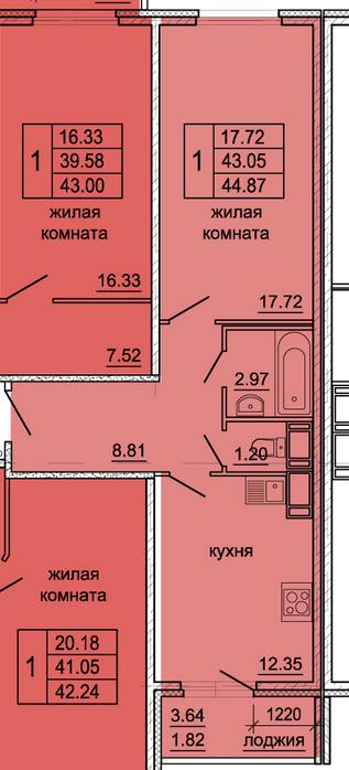 Планировка Однокомнатная квартира площадью 44.87 кв.м в ЖК «Гамма»