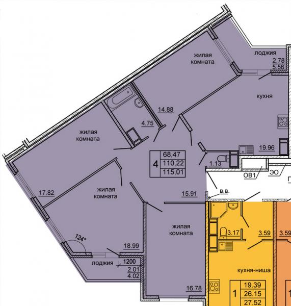 Планировка Четырёхкомнатная квартира площадью 115.01 кв.м в ЖК «Гамма»